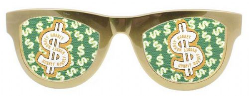 Party Glasses Dollar Metallic Gold XXL Pimp 70s